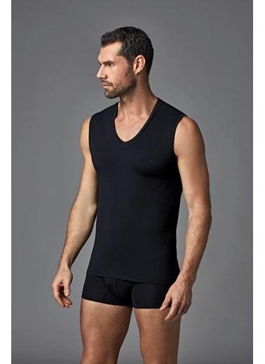 Dagi Mıcromodal V Yaka Kolsuz T-Shirt Siyah